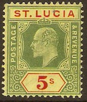 St Lucia 1904 5s Green and red on yellow. SG77.