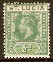 St Lucia 1912 �d Yellow-green. SG78a.