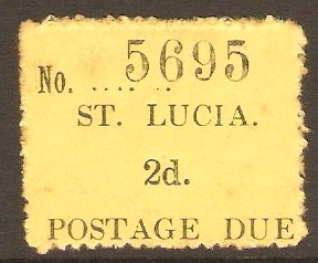 St Lucia 1930 2d Black on yellow - Postage Due. SGD2.
