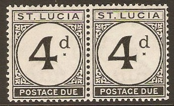 St Lucia 1933 4d Black - Postage Due. SGD5.