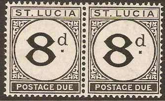 St Lucia 1933 8d Black - Postage Due. SGD6.