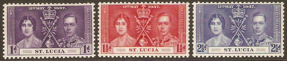 St Lucia 1937 Coronation Stamp Set. SG125-SG127.