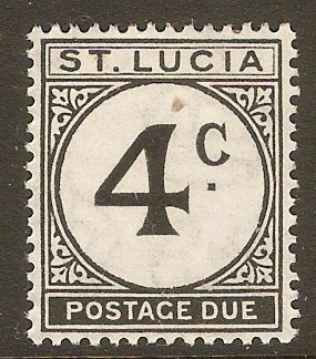 St Lucia 1949 4c Black Postage Due. SGD8.