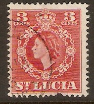 St Lucia 1953 3c Red. SG174.