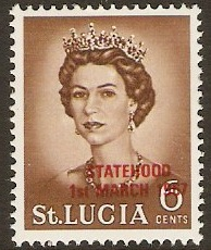 St Lucia 1967 6c Yellow-brown - Statehood overprint. SG231.