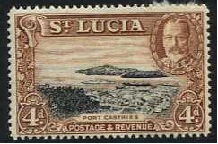 St Lucia 1936 4d. Black and Red-Brown. SG119.