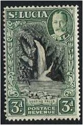 St Lucia 1936 3d. Black and Dull-Green. SG118.