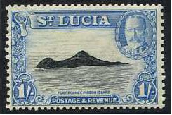St Lucia 1936 1s. Black and Light Blue. SG121.
