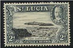 St Lucia 1936 2d. Black and Grey. SG116.