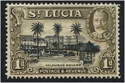 St Lucia 1936 1d. Black and Brown. SG114.