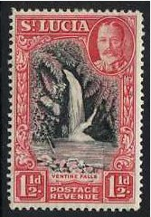 St Lucia 1936 1�d. Black and Scarlet. SG115.