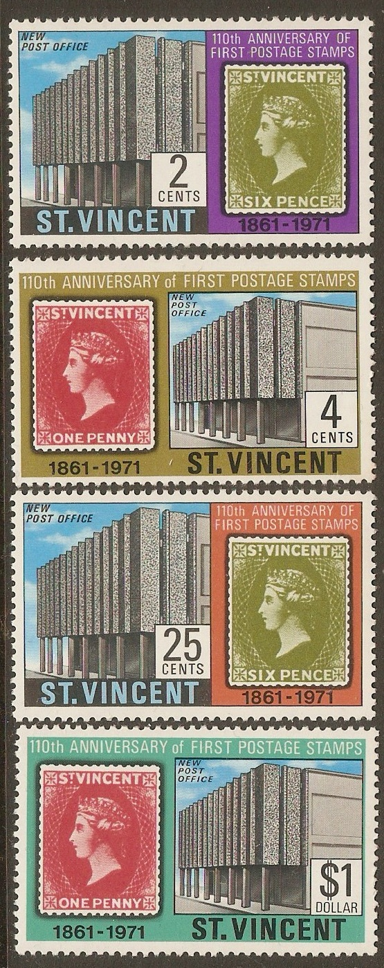 St Vincent 1971 First Stamps Anniversary set. SG318-SG321.