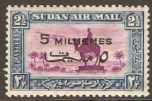 Sudan 1938 5m on 2�p magenta and blue. SG74.