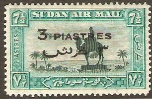 Sudan 1938 3p on 7�p Green and emerald. SG76.