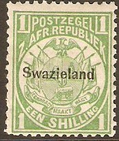 Swaziland 1889 1s green. SG3.