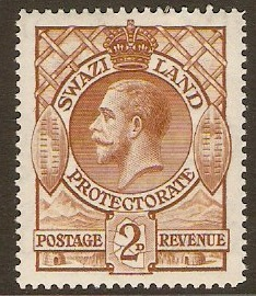 Swaziland 1933 2d brown. SG13.