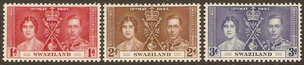 Swaziland 1937 Coronation Set. SG25-SG27.