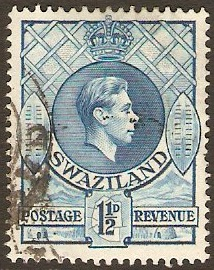 Swaziland 1938 1½d light blue. SG30b.