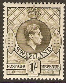Swaziland 1938 1s brown-olive. SG35.
