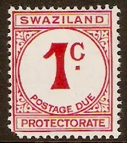 Swaziland 1961 1c carmine - Postage Due Stamp. SGD4.