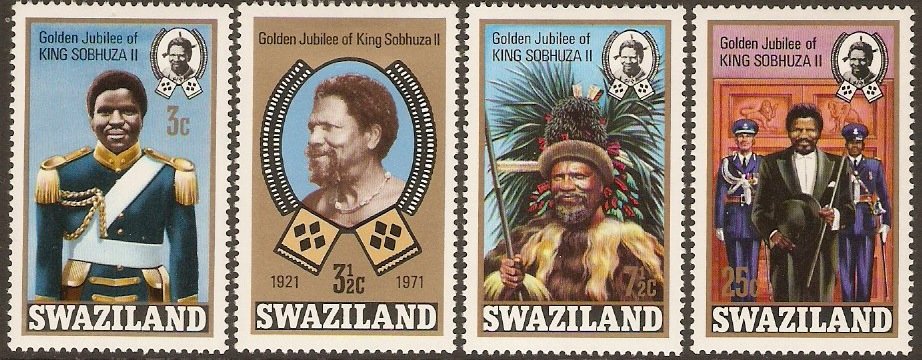 Swaziland 1971 Golden Jubilee Stamps Set. SG188-SG191.