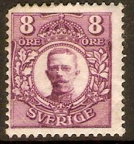 Sweden 1910 8ore Bright purple. SG71.
