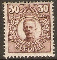 Sweden 1910 30ore Brown. SG78.