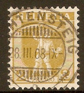Switzerland 1907 2c Olive-yellow. SG225.