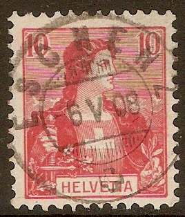 Switzerland 1907 10c Rose-red. SG228.