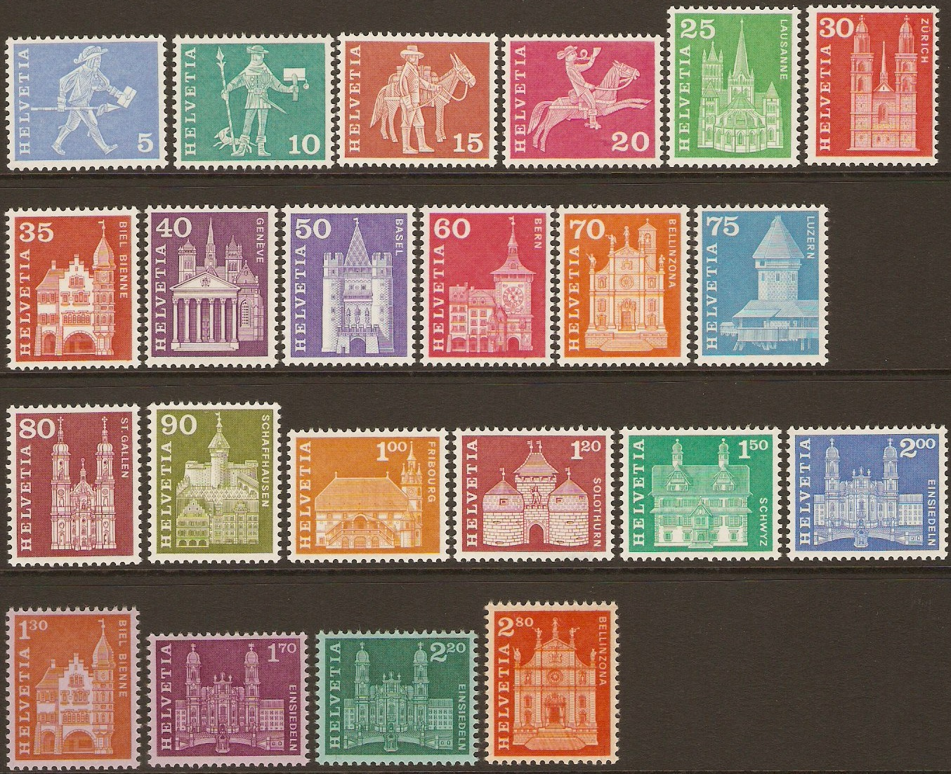 Switzerland 1960 Post History and Architecture Set. SG614-SG635.