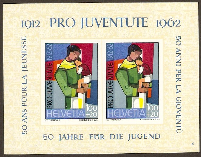 "Switzerland 1962 ""Pro Juventute"" Charity Stamps Sht. SGMSJ196a."
