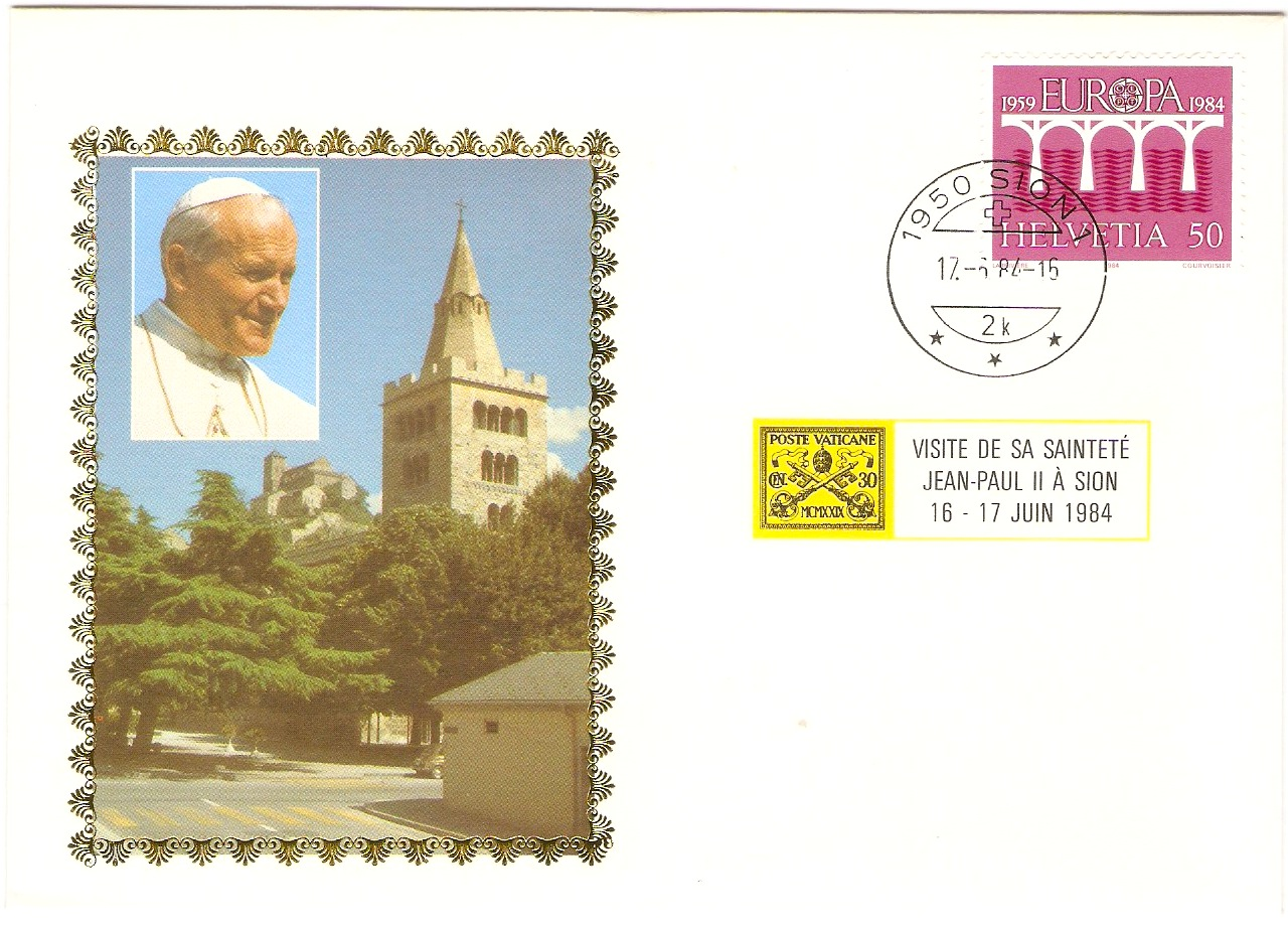 Switzerland 1984 Papal Visit Souvenir Cover.