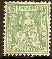 Switzerland 1881 25c Green. SG110.