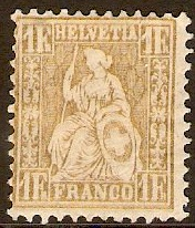 Switzerland 1881 1f Gold. SG113.