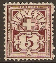 Switzerland 1882 5c Maroon. SG128A.