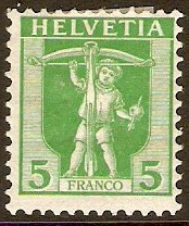 Switzerland 1907 5c Green. SG227.