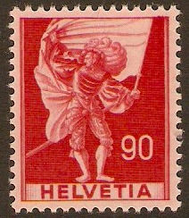 Switzerland 1941 90c Scarlet on pink. SG409.
