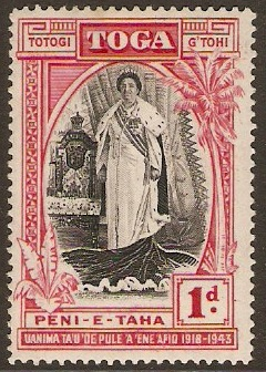 Tonga 1938 1d Black and scarlet. SG71.