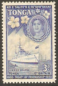 Tonga 1951 3d Yellow and bright blue. SG98.