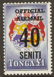 Tonga 1967 40s on £1 Official Airmail Series. SGO22.