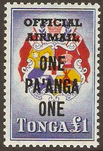 Tonga 1967 1p on £1 Official Airmail Series. SGO24.