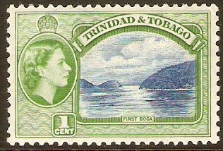 Trinidad & Tobago 1953 1c Blue and green. SG267.