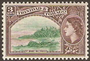 Trinidad & Tobago 1953 3c Deep emerald and purple-brown. SG269.
