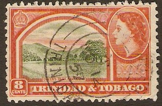 Trinidad & Tobago 1953 8c Deep yel.-grn and orange-red. SG273.