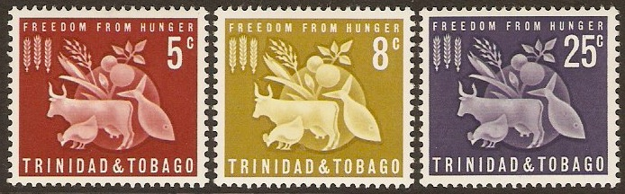 Trinidad & Tobago 1963 Freedom from Hunger Set. SG305-SG307.