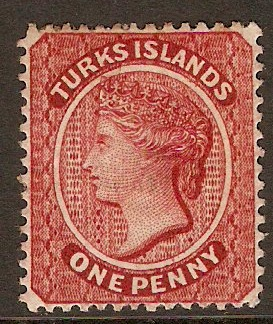 Turks Islands 1873 1d Dull rose-lake. SG4.