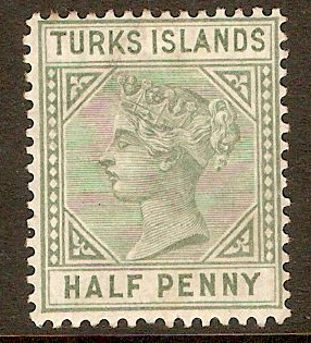 Turks Islands 1882 ½d Blue-green. SG53.