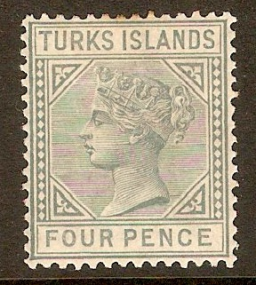 Turks Islands 1882 4d Grey. SG57.