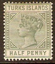Turks Islands 1893 ½d Dull green (Die II). SG70.