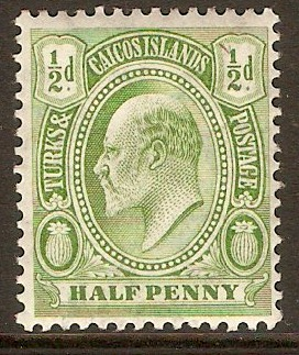 Turks and Caicos 1909 ½d Yellow-green. SG117.